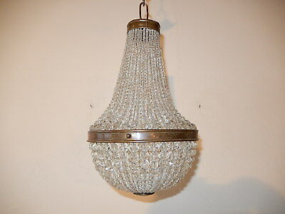 ~c 1910 French Rare Empire Crystal Ball Beads Basket Chandelier Vintage Petit~