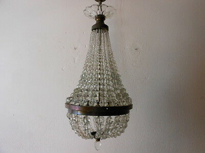 ~c 1910 French Rare Empire Crystal Ball Beads Basket Chandelier Vintage Old~