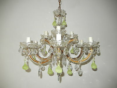 ~c1920 French Chartreuse Figs Murano Drops Chandelier Yellow Green 9 Lights OLD~