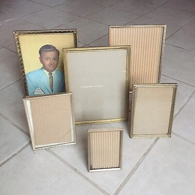 Vintage Lot Of 6 Etched Brass Gold Tone Metal Picture Photo Frame Mid Century