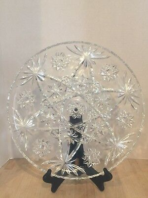 """Vintage Crystal Clear Cut Glass Round Serving Platter/Tray Star Of David 14"""""""