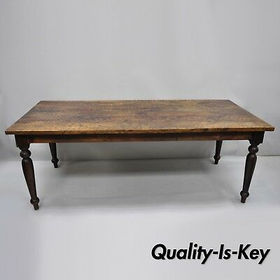 """Large Wood French Style Dining Farm House Table with Turn Carved Legs 82"""" Long"""