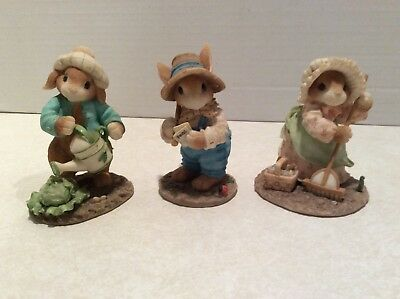 Enesco Blushing Bunnies figurines (3) Spring Gardening