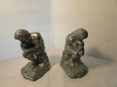 Vintage Pair Rodin's The Thinker Bookends Silver Cast Metal Filled Heavy Items