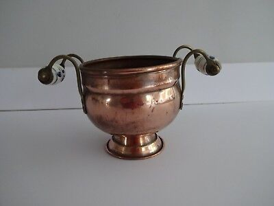 "Vintage Antique Copper Pot/Plater with Ceramic Blue and White Handles-4.5"" high"