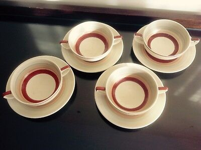 Susie Cooper wedding band 4 soup bowls and saucers in good used condition.