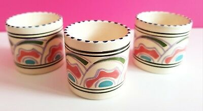 3x Vintage Honiton Pottery Egg Cups hand painted decorative item