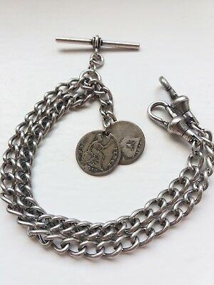 1842 Victorian 4D Coins Fob Antique Silver Style Double Pocket Watch Chain