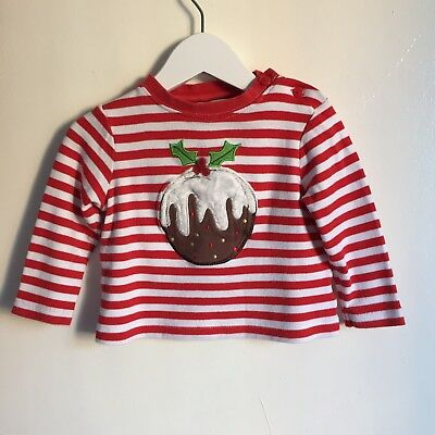 John Lewis Boys Red & White Striped Christmas Pudding Top 12-18 Months