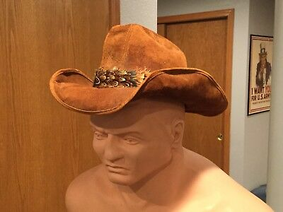 Henschel Skully's Leather Cowboy Hat Feather Band Size Large