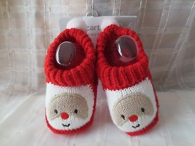 CARTER'S Baby SZ Newborn Sock Bootie Santa Christmas Holiday Red White Knit NWT