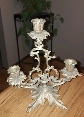 GORGEOUS Antique Highly Ornate VICTORIAN Gold Metal CANDLEABRA w/Gold Leaf Base!