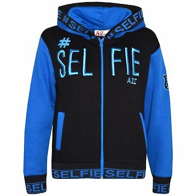 Kids Girls Boys Jacket #Selfie Embroidered Blue Zipped Top Hooded Hoodie 5-13 Yr