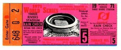 1971 WORLD SERIES Ticket Stub - Game 5 - Pittsburgh Pirates vs Baltimore Orioles