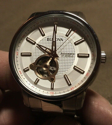 Bulova 96A143 Automatic Skeleton Stainless Steel Silver Tone Men's Watch
