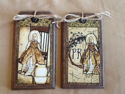 5 Wooden Handcrafted PRIM DOLLS Hang Tags/Prim ORNIES/Ornaments SET*0