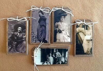 5 Handcrafted Wooden Prim Ladies & Babies Hang Tags/Ornaments SET*0
