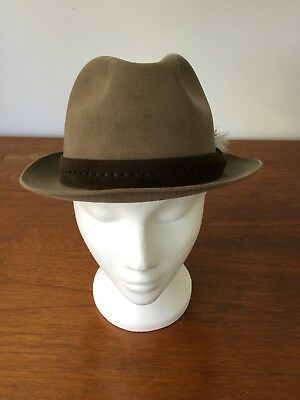 Vintage Lipizza Trilby Hat Size 57 Mushroom Brown Feather