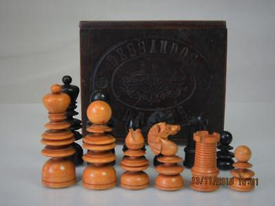ANTIQUE SMALL ENGLISH CHESS SET  E. Dixon ? K 63 mm AND BOX NO BOARD BOX
