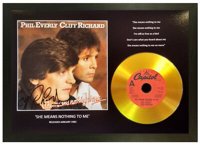 Cliff Richard, Phil Everly 'She Means Nothing To Me' Signed Gold Cd Disc Gift
