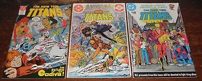 3 X The New Teen Titans Bundle #44 + Annual #1 + Keebler Drug Issue / Dc Comics