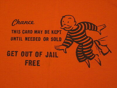 MONOPOLY t-shirt - SMALL - Get Out of Jail Free card