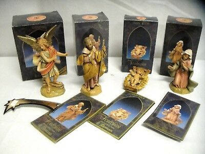 "Lot 4 Fontanini 5"" Collection Nativity Figures in Boxes Raphael LE + Holy Family"