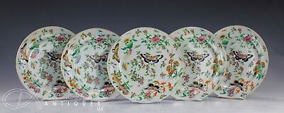 Lot Of 5 Antique Chinese Famille Rose Porcelain Plates W Nice Color