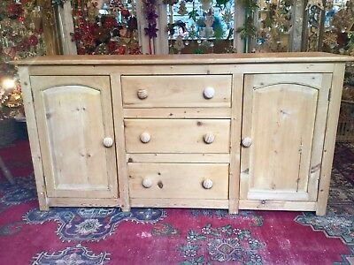 Antique Pine Dresser Base / Pine Sideboard Chest With Drawers