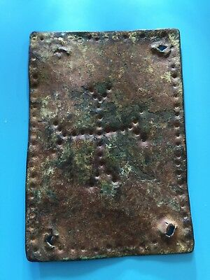 Antique CHRISTIAN ROMAN CROSS Byzantine Copper Plaque 800 Years Archeological