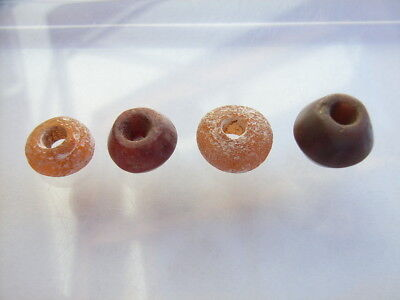 4 Ancient Roman Red Jasper, Glass Beads, Romans VERY RARE!  TOP!
