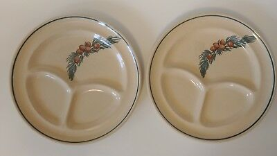 Two Wallace China Grill Plates Pinecone Design