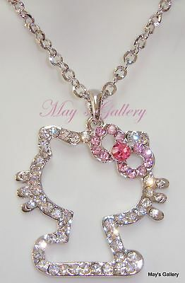 """Hello Kitty Pendant and  Necklace Crystal 27"""" Long NIB Bling Bling Charms Charm"""