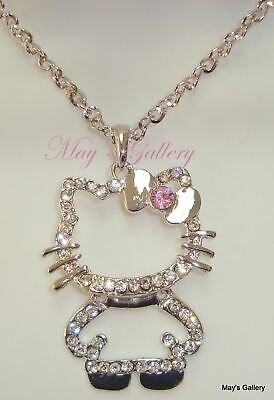 """Hello Kitty Crystal Pendant and  Necklace Crystal 27"""" Long Bling Bling NIB Charm"""