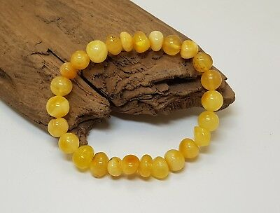 Bracelet Stone Amber Natural Baltic Rounded Bead 6,3g Cognac Rare Old Sea F-284
