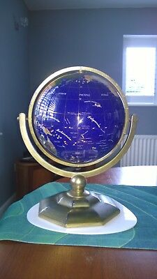 Blue Lapis Gemstone Globe with Semi-precious Stones