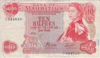 Mauritius Banknote P31c-4810 10 Rupees Sig 4, QE II, Light ink stains, F+