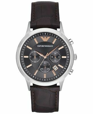 BRAND NEW Emporio Armani Grey Dial Brown Leather Chronograph Mens Watch AR2513