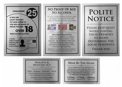 Bar Licensing Sign Pack Alcohol Law Notices 25ml Spirits Wine Pack of 5