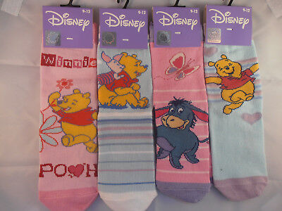 4 Pair Disney Winnie Pooh Character Socks Childrens Girls Assorted Size 9-12