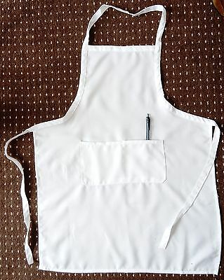 Cotton Apron Cooking Kitchen Chefs Work wear WHITE with pocket   free postage