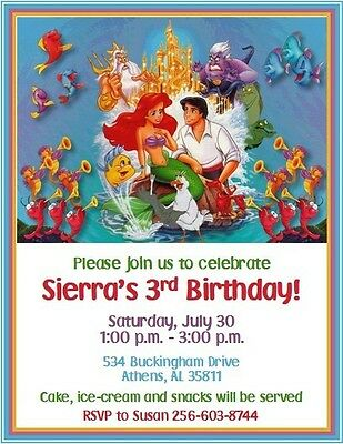 The Little Mermaid Birthday Invitations ~ Style #9 ~ by The Notecard Lady
