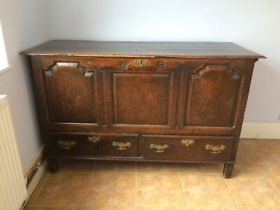 Antique pre-Victorian Jacobean solid carved oak blanket chest