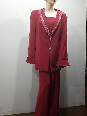 NWT ELITE CHAMPAGNE Size 18 Wedding Church Mother of the Bride Dark Red Suit