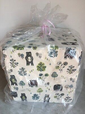 NEW GLENNA JEAN Ottoman Bear Sweet Potato North Country Honey Bear Print