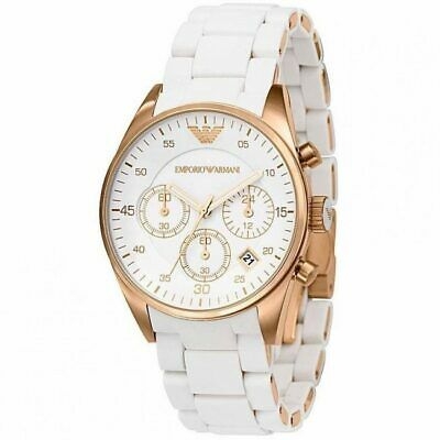 BRAND NEW Emporio Armani Rose Gold White Chronograph Womens Watch AR5920