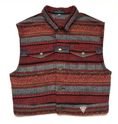 Vintage Men's Made In USA Guess 30% Wool Tribal Print Navjo Vest Fitted Small