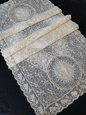 Antique Lace- Circa 1920, Fine French Normandy Lace Table Runner #2