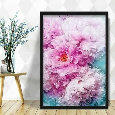 Abstract Navy Blue & BLUSH PINK Peony Flower Floral Art PRINT Framed or Poster