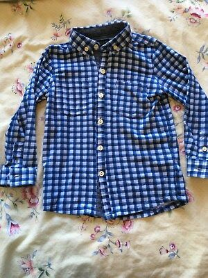 Next Boy's Long Sleeved Soft Touch Buttoned Shirt. Blue Checked. 2 - 3 Years NEW
